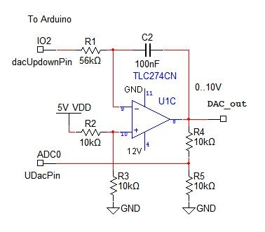 Simple 10 bit Arduino dac schematic