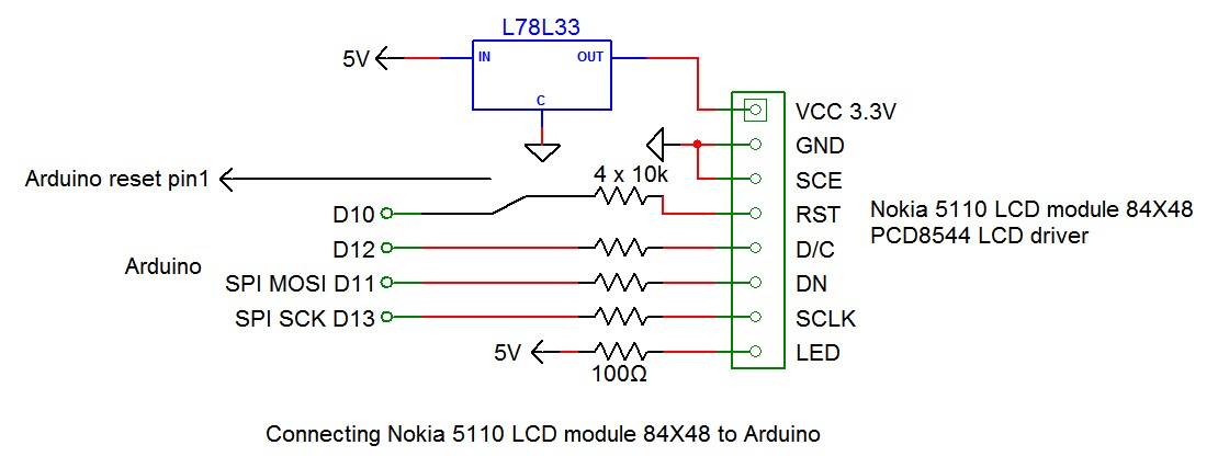 Nokia 5110 lcd connecting nokia 5110 lcd to arduino with 3 wires asfbconference2016 Choice Image