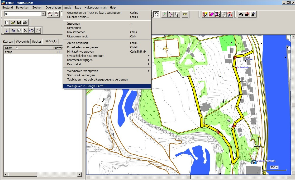 sending a track in mapsource to google earth. tracks in google earth