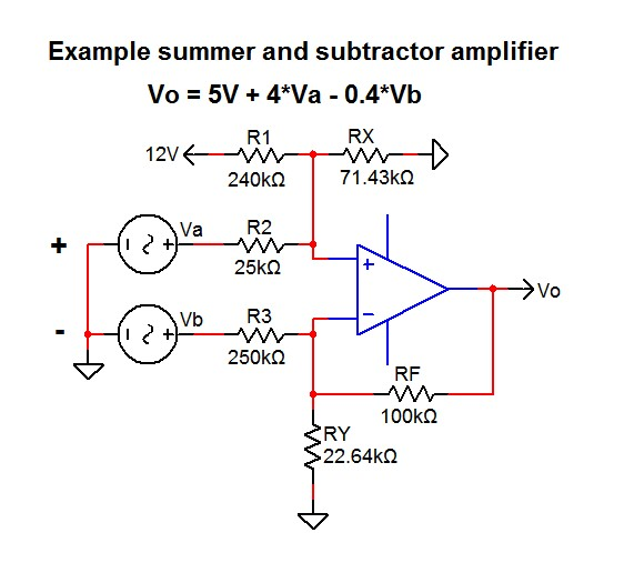 Summing and subtracting op-amp example