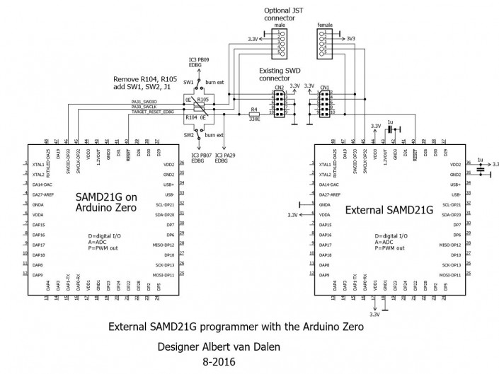 Circuit of the SAMD21 programmer with the Arduino Zero