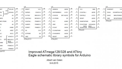Improved ATmega128/328 and ATtiny Eagle schematic library symbols for Arduino