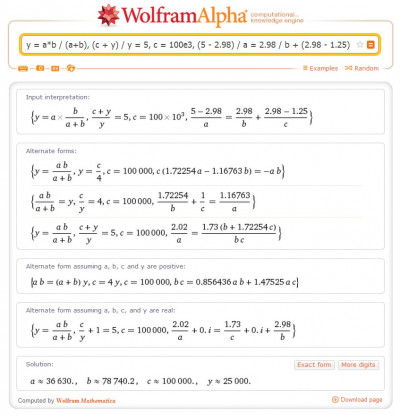 Electronic circuit calculation with wolframalpha