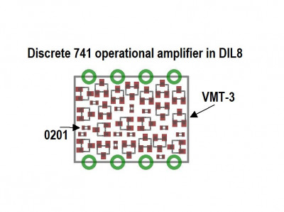 Discrete 741 operational amplifier in DIL8