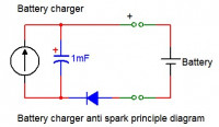 Battery charger anti spark circuit principle diagram