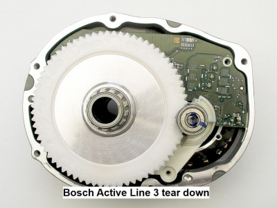 Bosch Active Line 3 mid-drive motor dismantled