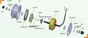 Hub motor 3D technical drawing