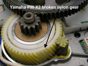 Yamaha PW-X and PW-X2 broken gear