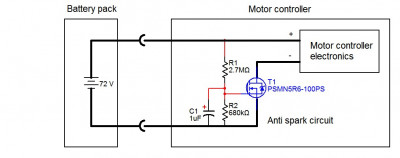 Anti spark circuit built into the motor controller 72V