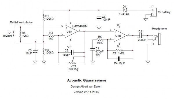 Acoustic Gaussmeter circuit