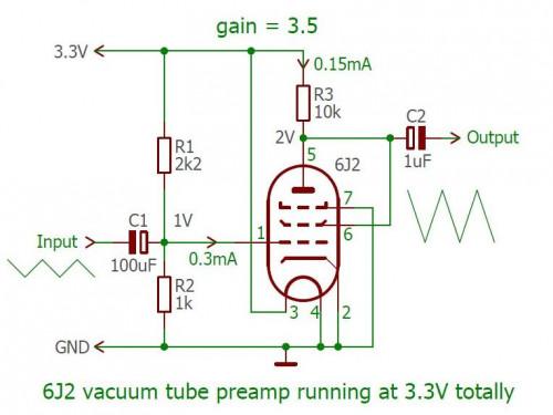 Circuit 6J2 tube preamp with 3.3V filament and anode voltage